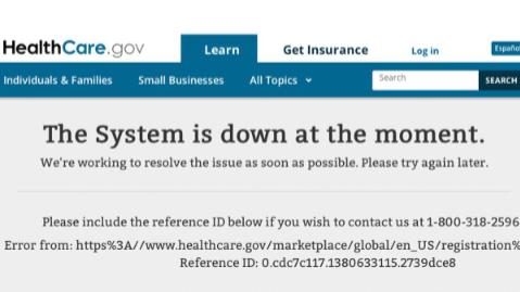 Obamacare Web Error Message